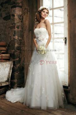 Elegant lace tulle Court Train Latest Fashion Spring wedding dress nw-0258