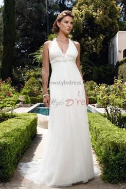 Empire Halter Chiffon Sweep Train Informal Glamorous wedding dress nw-0210