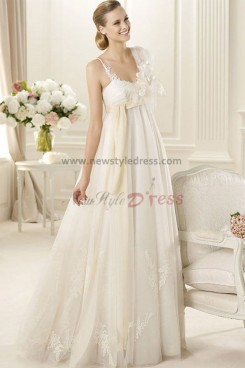 Empire Sheer Straps Appliques Gorgeous New Arrival wedding dresses nw-0148