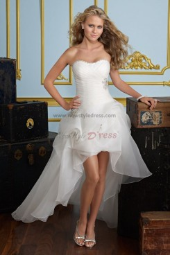 Front Short Long Back Draped Sexy Spring Latest wedding dress nw-0275