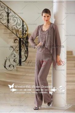 Georgette Trousers mother of the bride dress pants suit nmo-063