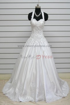 Halter Chest Appliques 20 Inch Train Elegant Wedding Dresses nw-0132