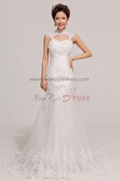 High Collar Mermaid Chapel Train Lace Unique Appliques Wedding Dresses nw-0069