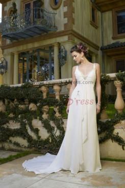 Hot Sale Spaghetti V-neck Chiffon Glamorous wedding dress nw-0212