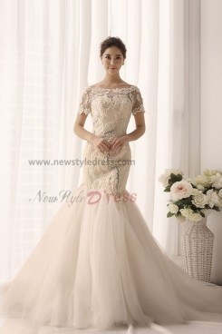 Ivory Bateau lace Appliques Half Sleeves Elegant wedding gowns nw-0158