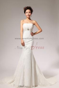 Lace Strapless Empire Mermaid Chapel Train Wedding Dresses nw-0067