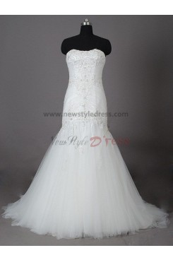 Lace Up Organza Chest Appliques Hand-beading Pleat SweepBrush Train Mermaid Elegant Glamorous Wedding dresses nw-0031