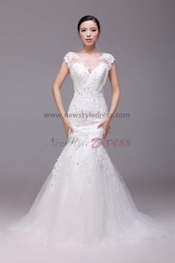Latest Fashion Glamorous Mermaid lace Wedding Dresses Chapel Train nw-0199