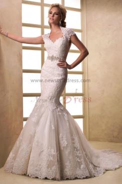 Latest Fashion Mermaid lace Appliques Glamorous Train wedding dresses with Wraps nw-0195