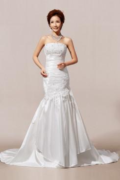 Mermaid Chapel Train Charmeuse Wedding Dresses Chest Appliques nw-0057