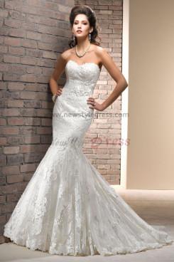 Brush Train Mermaid lace Appliques Glamorous Spring High-end wedding dresses nw-0193