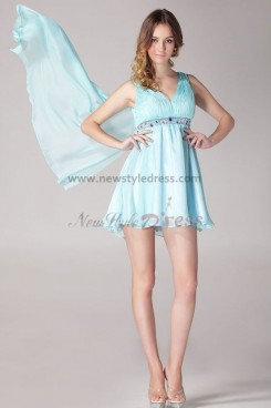 Navy blue After short before long Above Knee V-neck Glamorous Modern Chiffon Homecoming Dresses nm-0078
