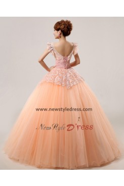 New Arrival Bateau Lace Orange Floor-Length Lace Quinceanera Dresses Cheap nq-011