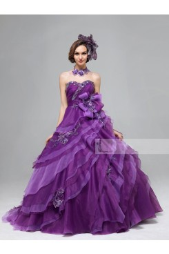 New Arrival Grape Glass Drill Ruched Sweep Train Sweetheart Tiered Quinceanera Dresses nq-014
