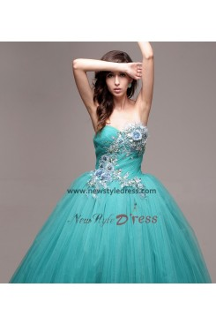 Handmade flower Light Sky Blue ball gowns under 200 Quinceanera Dresses nq-004