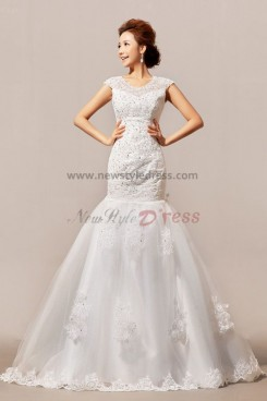 New Arrival Lace Sequins Mermaid Chapel Train Jewel Crystal Wedding Dresses nw-0062