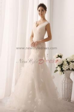 New Arrival V-neck Mermaid flower Multilayer Pleat Elegant Wedding gown nw-0157