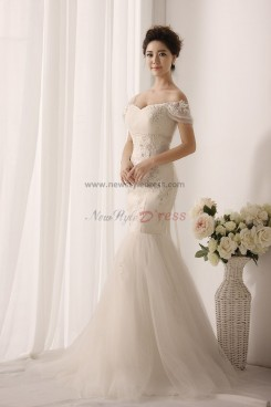 Off-the-shoulder Mermaid Lace Ivory Sweetheart Wedding gown nw-0155
