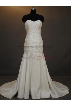 Pleat Chapel Train Mermaid Sheath Strapless Satin Zipper-Up Simple Elegant Modern Sweetheart Wedding dresses nw-0032