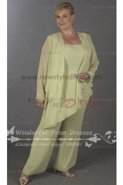 Plus Size Daffodil modern pants sets mother of the bride outfits nmo-091
