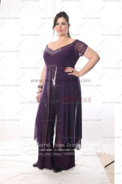 Plus Size purple Chiffon Off the Shoulder mother of the dress suits with Sequins nmo-041