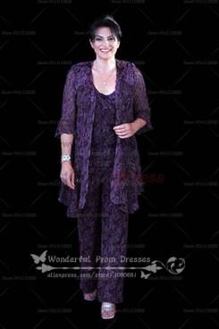 Plus Size purple Lace Three Piece mother of the bride dress pants sets nmo-061