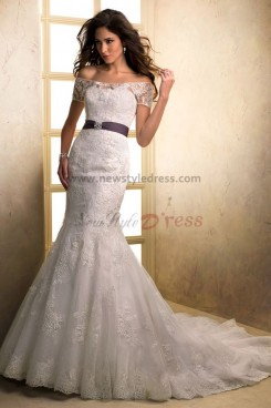 Portait Brush Train Mermaid lace Bateau Elegant wedding dresses with Wraps nw-0191