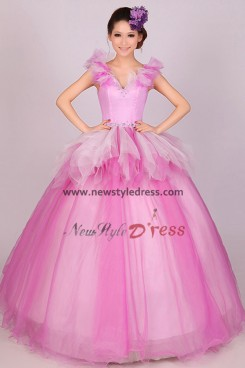 Rose red Multilayer tulle a-line Glamorous Quinceanera Dresses nq-021
