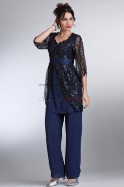Royal Blue cheap mother of the bride pant suits with lace jacket three quarter sleeve nmo-015