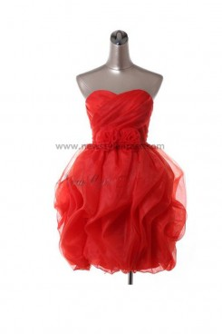 Ruched Handmade flower Overall creases Strapless Modern Lace Up Draped Sweetheart Homecoming Dresses nm-0075