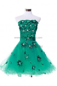 Green Above Knee Strapless Tiered Organza Homecoming Dresses nm-0084