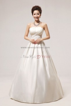 Satin Strapless Floor-Length Bow Wedding Dresses nw-0049