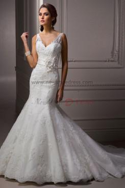 Sheer Straps Mermaid lace Sheath Glamorous Waist With Flower wedding dresses nw-0188
