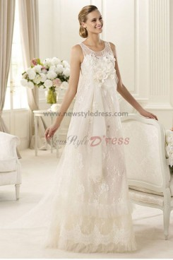 Sheer Straps Multilayer Appliques Gorgeous lace Jewel Handmade flower wedding dresses nw-0151