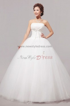 Simple Ball Gown Tulle White Floor-Length Wedding Dresses nw-0051