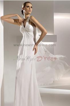 Spring Glamorous Empire Chiffon Beach Wedding Dress nw-0282
