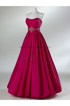 Strapless A-Line Satin Silver or red Floor-Length waist with beading Simple Evening Dresses np-0075