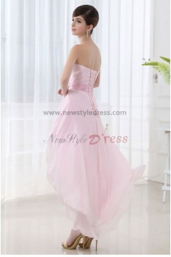 Strapless Chiffon Glamorous Pink Asymmetry Unique Homecoming Dresses nm-0058