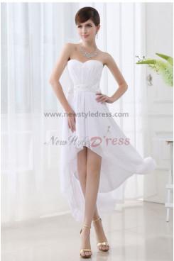 Strapless Chiffon Glamorous White Asymmetry Unique Homecoming Dresses nm-0064