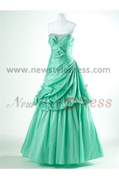 Strapless Gorgeous Ruched Chest with beading adnWaist with a bow Floor-Length Quinceanera Dresses np-0095