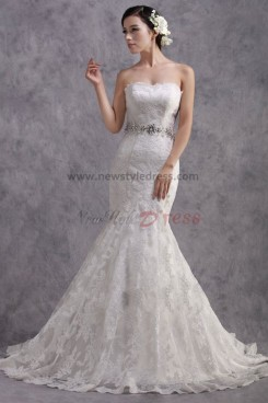 Strapless Mermaid lace Sweep Train wedding dresses with Glass Drill Sashes nw-0180