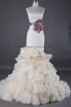 Strapless Waist With a flower Chapel Train Tiered Ruched discount Wedding Dresses nw-0044