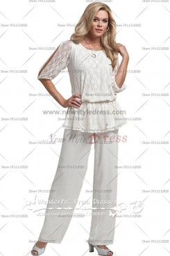 Summer White Chiffon Two Piece mother of the bride dresses pants suit Trousers nmo-064
