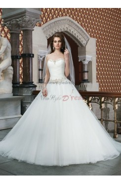 Sweetheart Chest With beading Simple Sweep Train Princess wedding dresses nw-0135