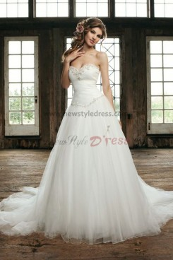 Sweetheart Chest With beading a line tulle Glamorous Spring wedding dress nw-0263
