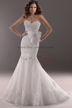 Sweetheart Mermaid lace Appliques Classic wedding dresses Waist With a bow nw-0186