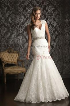 Tank V-neck lace Mermaid Luxurious Chapel Train wedding dress nw-0256