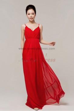 V-neck Empire Draped red Chiffon Spaghetti evening dresses