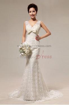 disassemble V-neck Lace beading Mermaid Chapel Train Shawl Wedding Dresses nw-0065