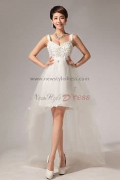 Vest high low White Dresses Wedding Party Glass Drill flower nw-0054